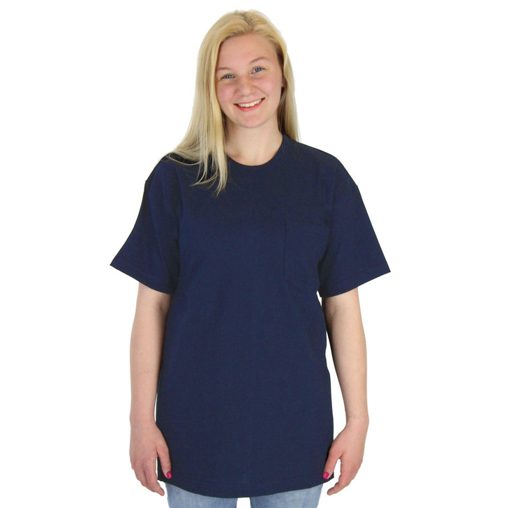 Womens 100% Cotton Pocket Tee Crew Neck Heavy 6.1oz Navy