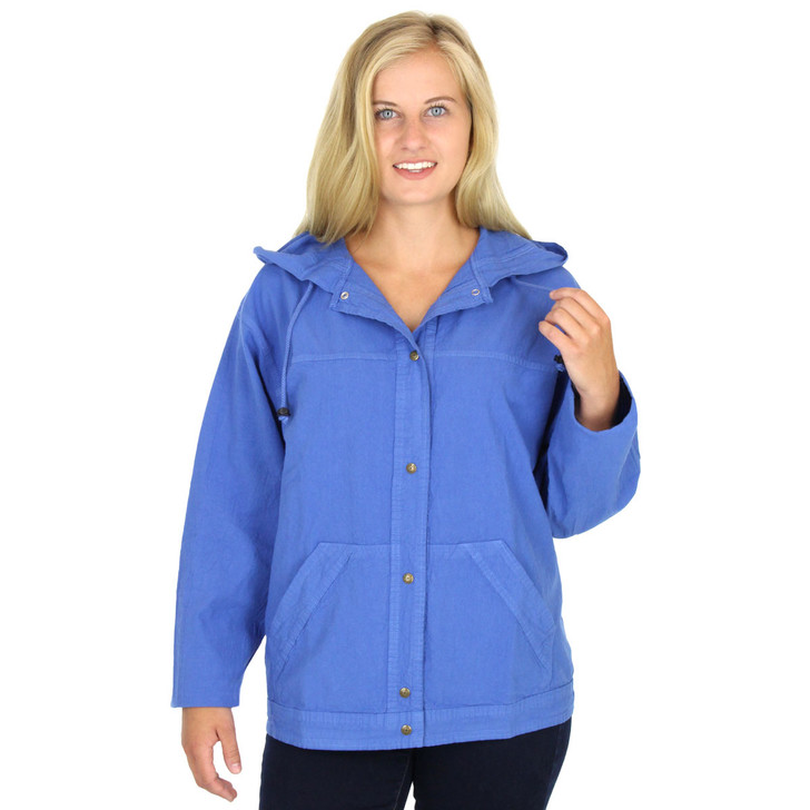 HoneyKomb 100% Cotton Hooded Shirt Jacket Blue Bell