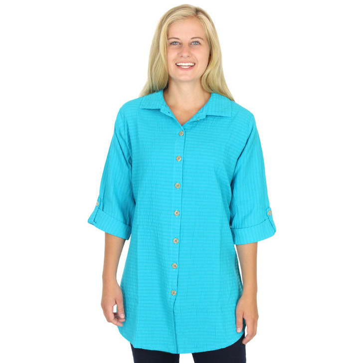 Mirage Cotton 3/4 Tab Sleeve Tunic Teal