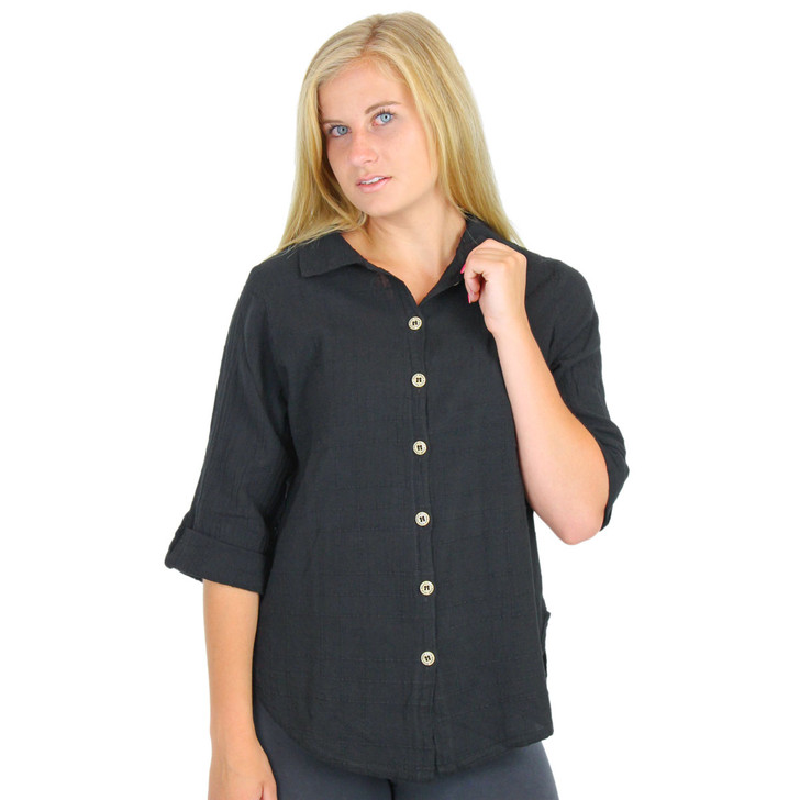 Light Cotton 3/4 Tab Sleeve Top Black