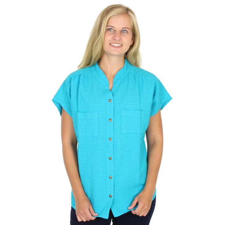 Mirage Cotton Cap-Sleeve Sleeveless Snap Top Teal