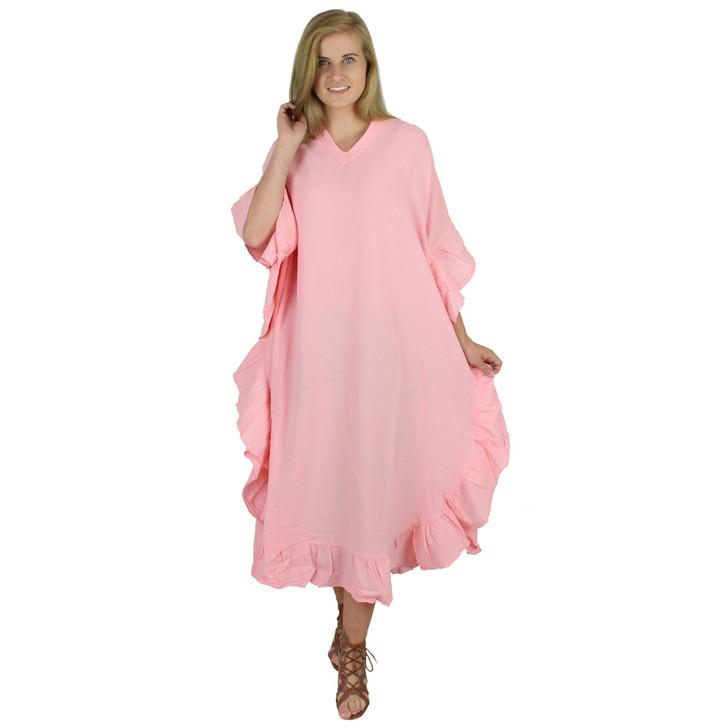 Long Crinkle Cotton Kaftan Dress (50-LONG) BLUSH