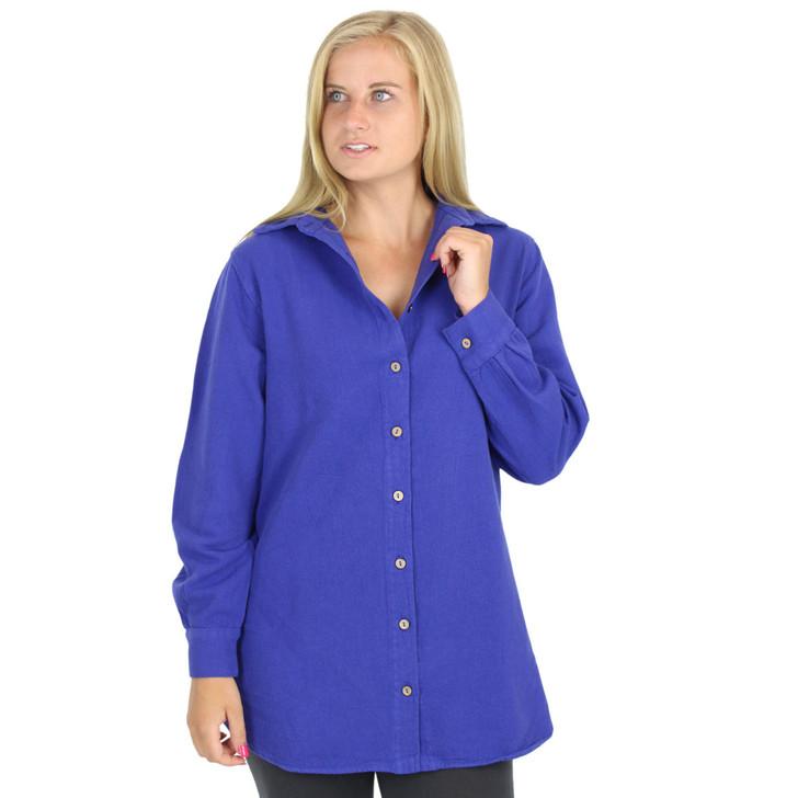 Brushed Canton 100% Cotton Shirt Indigo