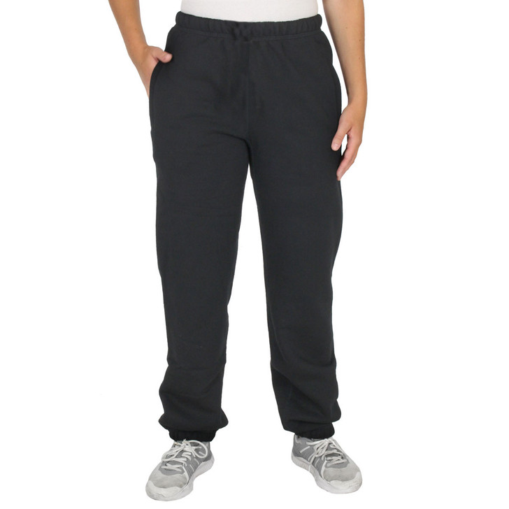 Thick 100% Cotton Fleece SWEATPANTS for Women Black