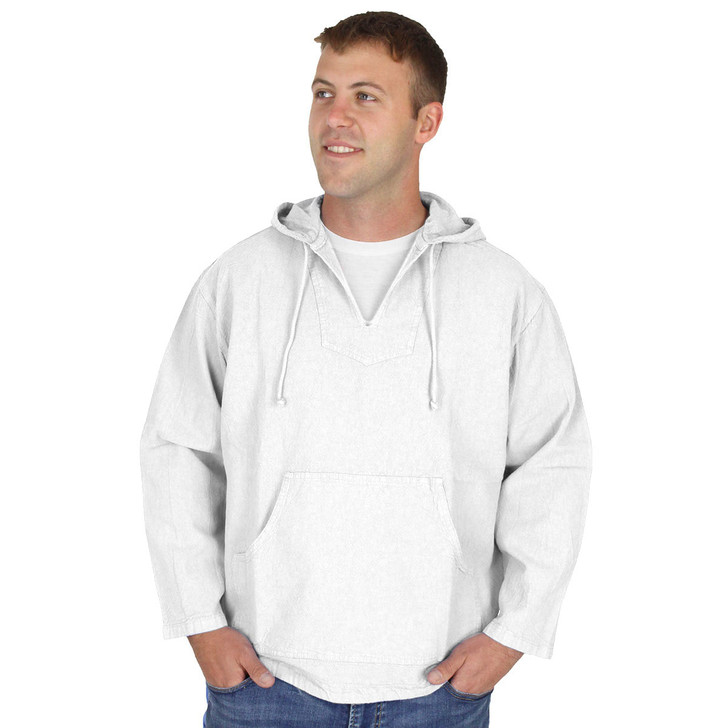 Mens 100% Crinkle Cotton Kangaroo Hooded Shirt - White