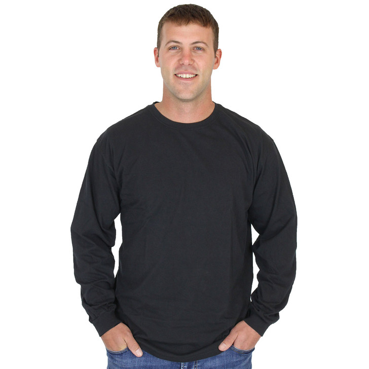 Mens 100% Organic Cotton Black Crew Long Sleeve Tee 3420BM