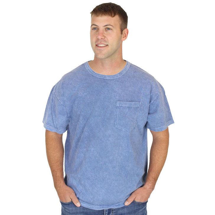 Mens Slate Blue Pocket Tee 100% Organic Cotton Crew Neck Grown and Made in USA