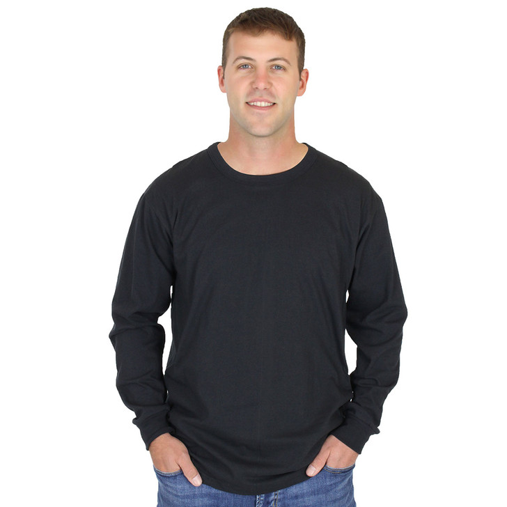 Mens Black Long Sleeve 100% Organic Hypoallergenic Cotton Crew Neck Tee Grown and Made in USA