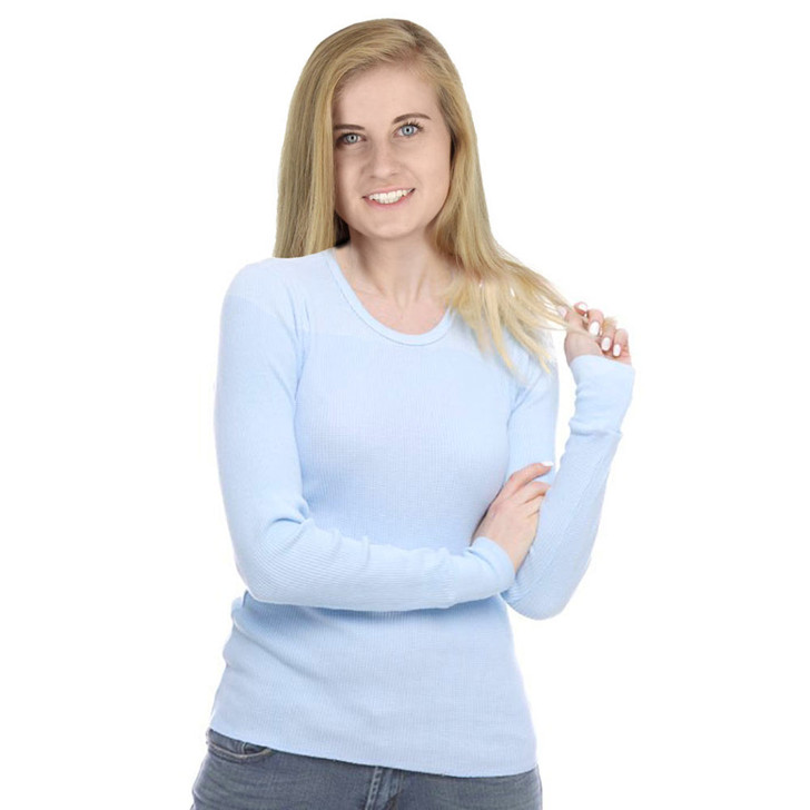 100% Cotton Thermal Long Sleeve Shirt Top Sky