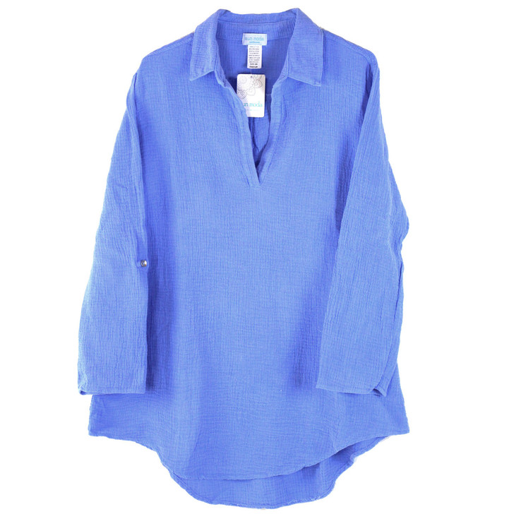 100% Cotton Double Gauze Rolled Sleeve Collar Neck Tunic - Front in color Peri