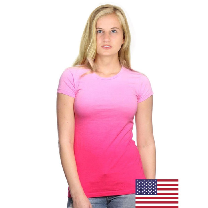 Women's 100% Cotton Dip Dye Ombre Tee