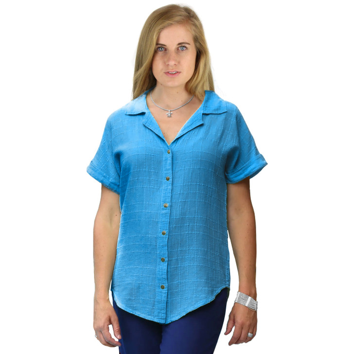 100% Cotton Collar Snap Short Sleeve Top