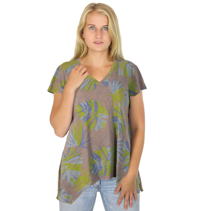 Asymmetric Short Sleeve Printed V Neck 100% Cotton Tunic Top - PM-6932 - Taupe