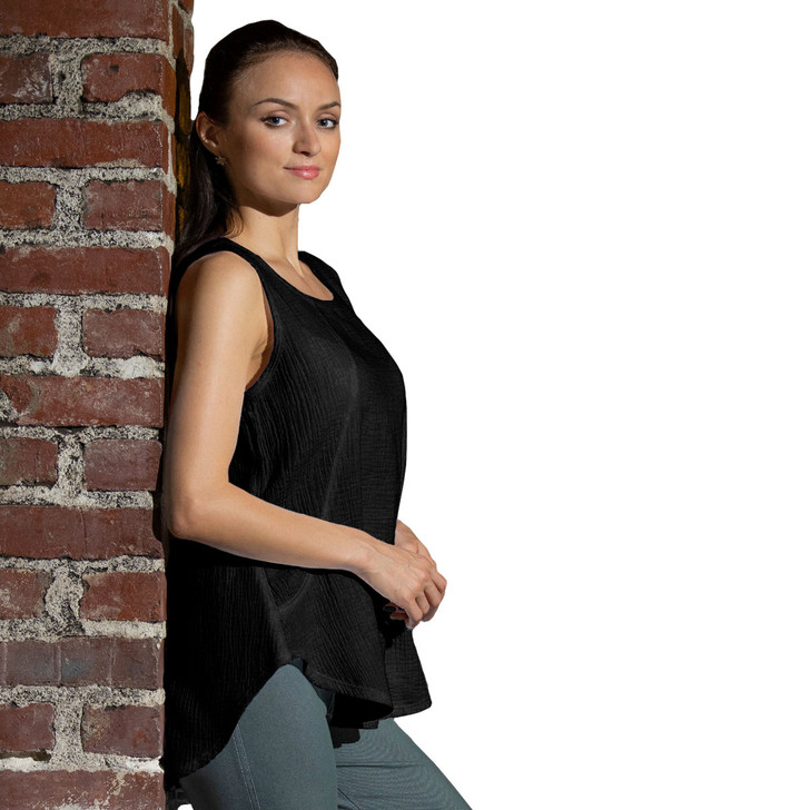 Double Gauze Sleeveless 100% Cotton Scoop Top - 7527-DG - Black