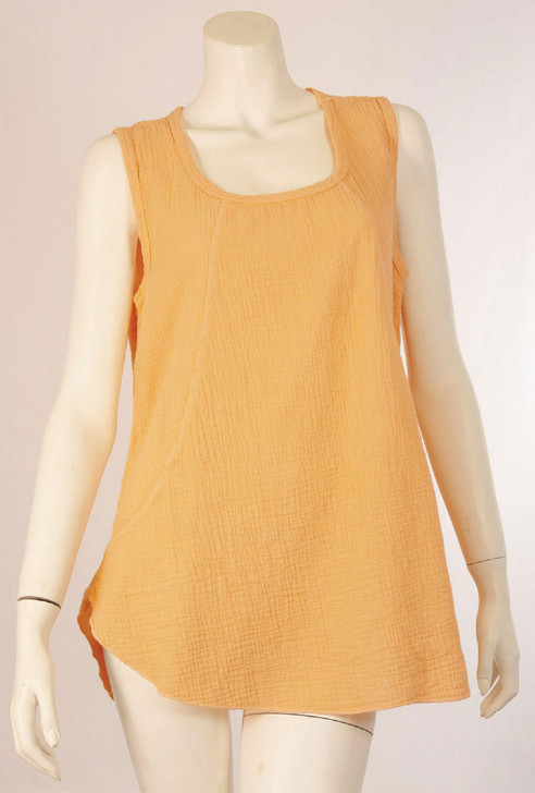Double Gauze Sleeveless 100% Cotton Scoop Top