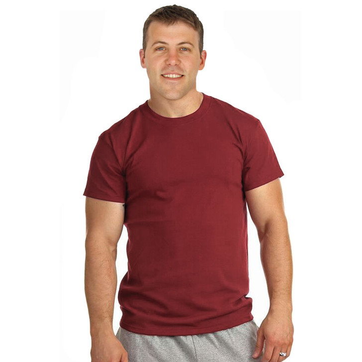 Mens 100% Cotton Crew Neck Tee - Made in USA