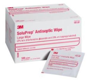 SoluPrep Antiseptic Wipe 2%, CHG/70% IPA, Large Box/100
