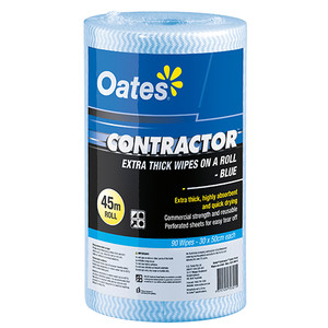 Oates, Contractor Wipes on a Roll, High Durability, Low Lint, 90pc Blue (CLR-090-B)