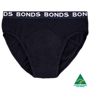 NIGHT N DAY BONDS branded Men's Hipster 100% Cotton w/ absorbent, waterproof pad sewn-in, Large (W95-100cm), 400mL capacity pad, Black, Each