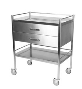Dressing Trolley, 500x800mm Square Frame, 2 Draws, Stainless Steel, Each