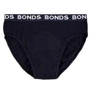 Night n Day BONDS branded Men's Hipster 100% Cotton w/ absorbent, waterproof pad sewn-in, Large (W95-100cm), 100mL capacity pad, Black, Each