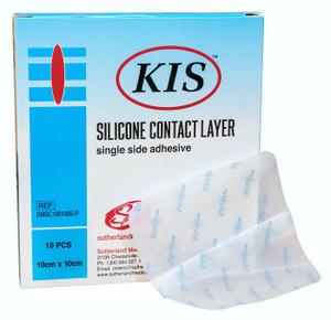 KIS Silicone Contact Layer, Single Side Adhesive, 10x10cm, Box/10