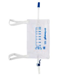 UrimaaX Urine Leg Bag 750ml, 30cm Inlet Tube, Flip Tap B/O Sterile Each