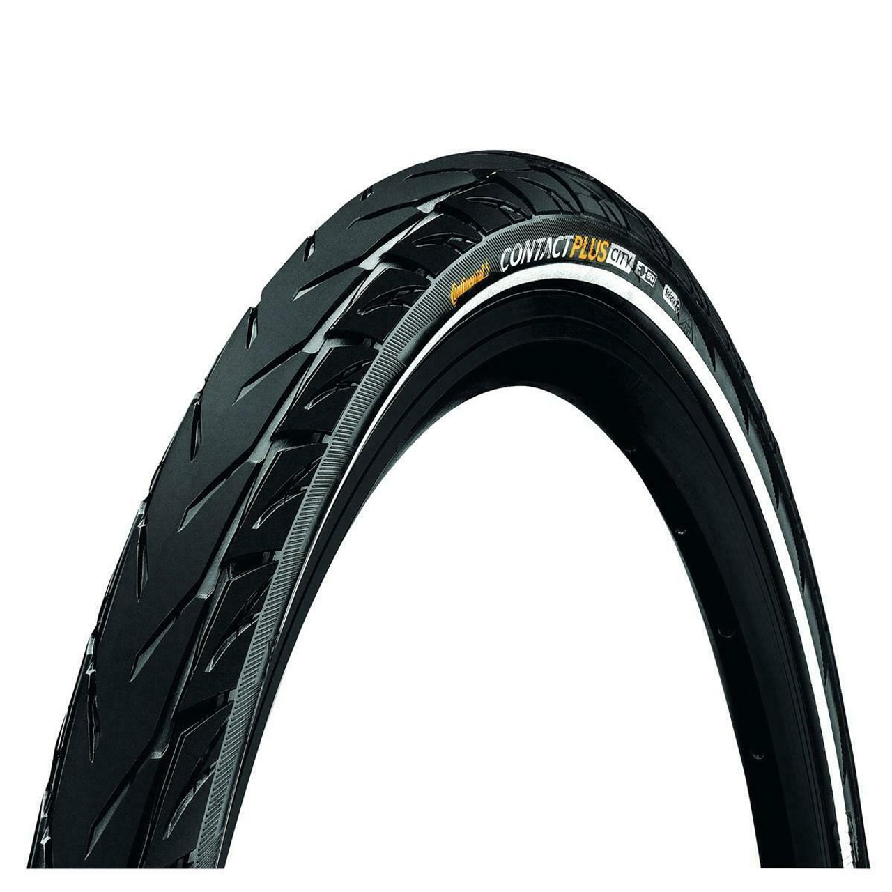 Continental Contact Plus City/Trekking Wired E -Bike Ready Tyre in Black/Reflex All Sizes