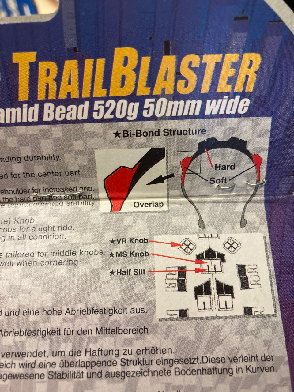 Panaracer Trail Blaster Allround Retro MTB Folding Tyre 26 x 2.10 In Black Tube Only-Not Tubeless