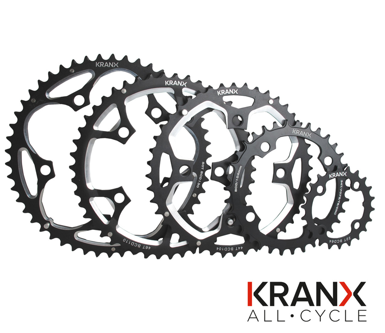 KranX 130BCD Alloy 9/10 Speed Chainring in Black  All Sizes
