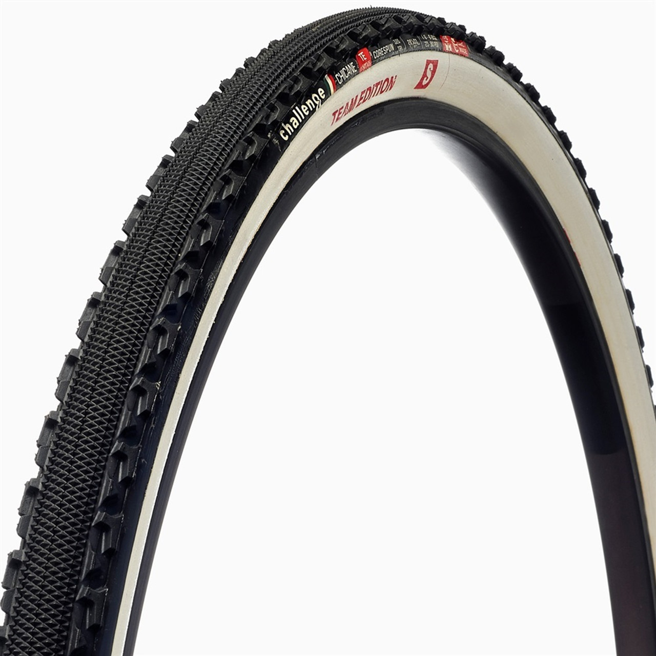 Challenge Chicane Team Edition Handmade Tubular Cyclocross Tyre 700 x 33 Black/White