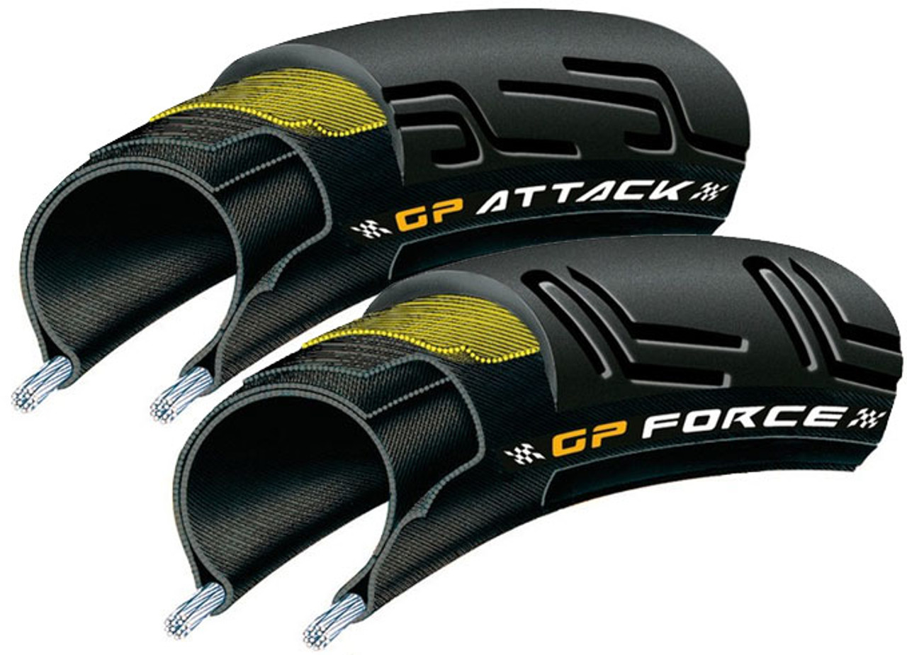 Continental GP Attack/Force II Folding Tyres 700 x 22/24