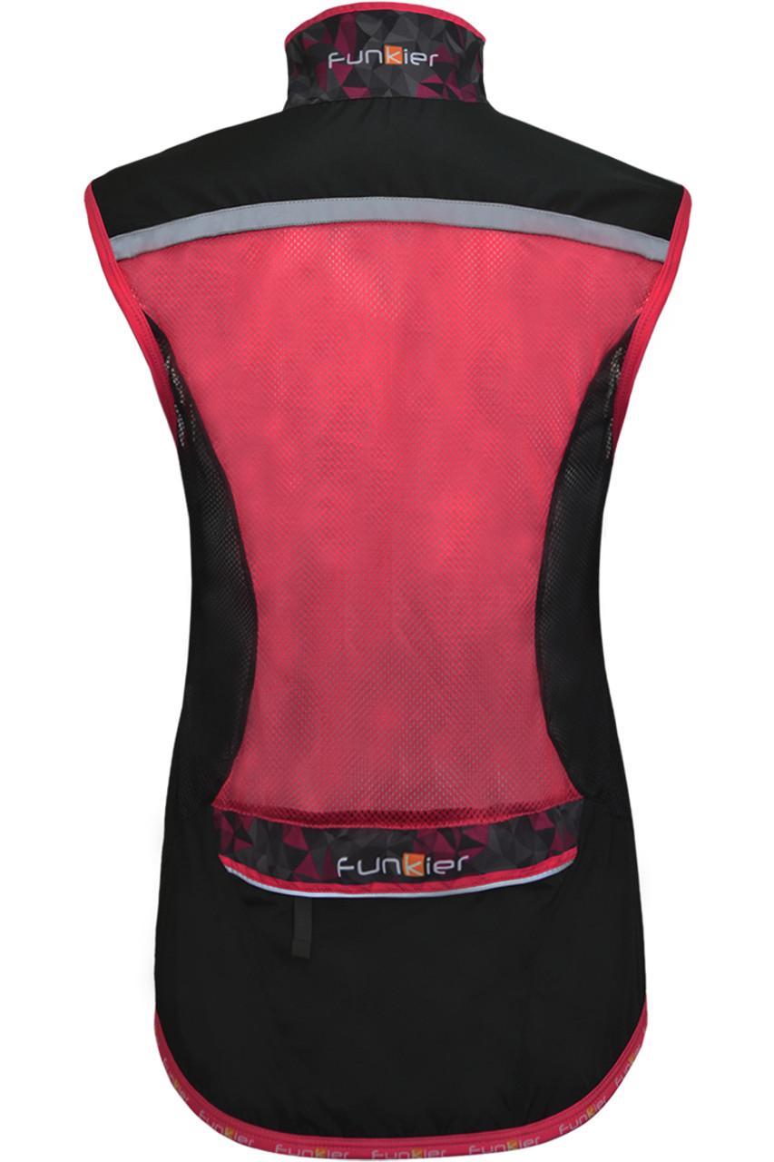 Funkier Cobina Ladies Windbreaker Gilet   Black/Pink   WV-1511