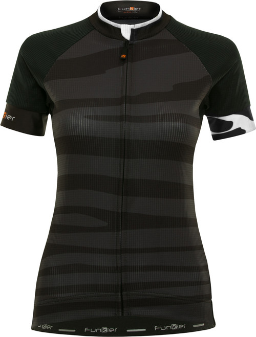 Funkier Prima Pro Ladies Short Sleeve Jersey in Black-Wave