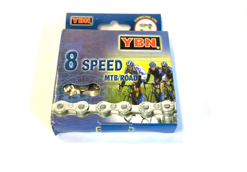 YBN S8 S 8 speed Road/MTB Chain In Silver/Brown With Missing Link