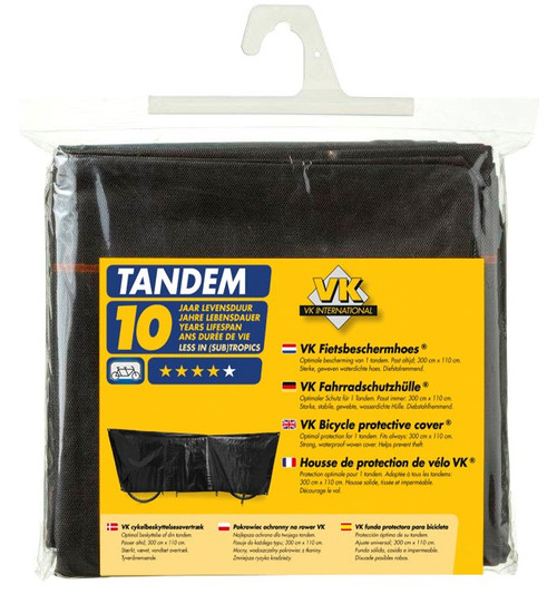 VK Tandem Waterproof Tandem Bicycle Cover Inc. 5m Cord | Black
