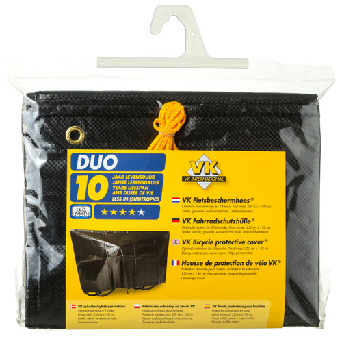 VK Duo Waterproof 2-Bike Bicycle Cover Inc. 5m Cord | Black