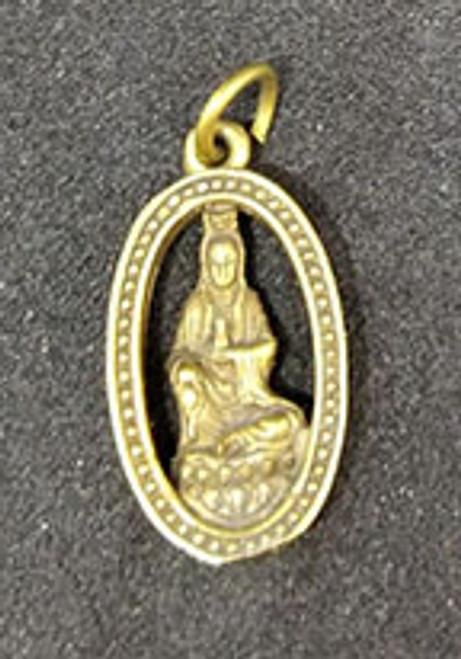 Kwan Yin Brass Pendant