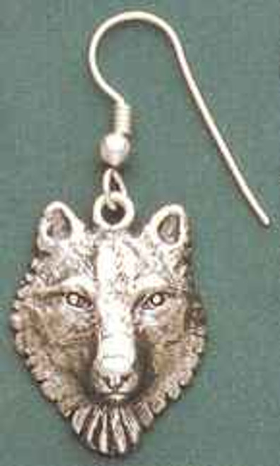 Wolf Head Sterling Silver Earrings
