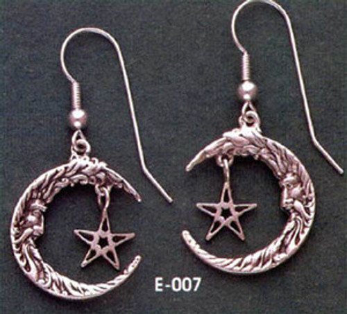Moon & Star Silver Earrings *Sale Priced*