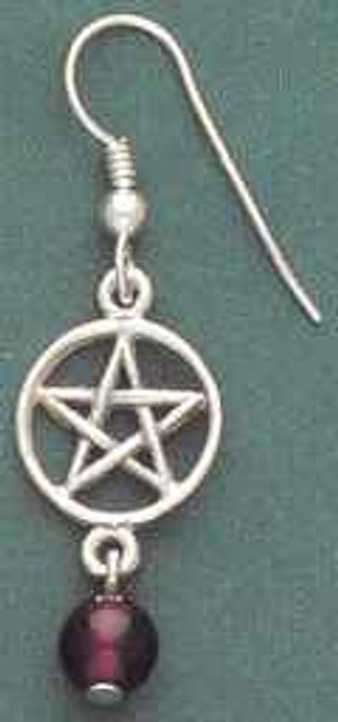 Pentacle Earrings with Garnet