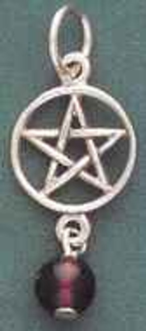 Small Pentacle Pendant with Garnet