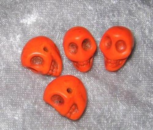 """Skull Beads 1/2"""" Orange  Howlite"""