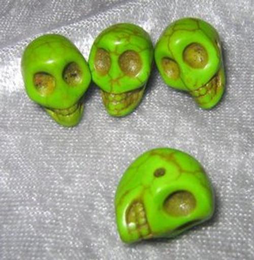 """Skull Beads 1/2"""" Green Howlite"""