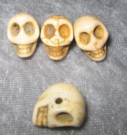 """Skull Beads 1/2"""" Bone Howlite"""