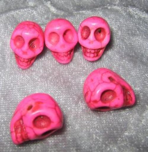 """Skull Beads 1/2"""" Pink Howlite"""
