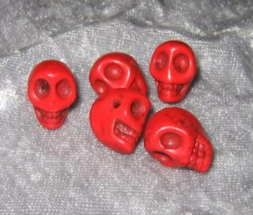 """Skull Beads 1/2"""" Red Howlite"""