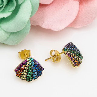 Rainbow Shell Post Earrings - 116611