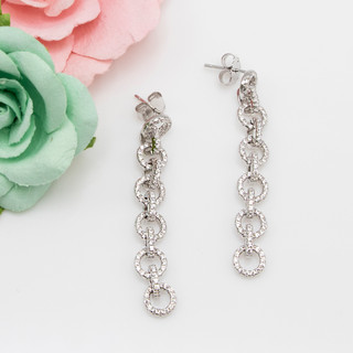 Sparkling Chain Link Post Earrings - 116604