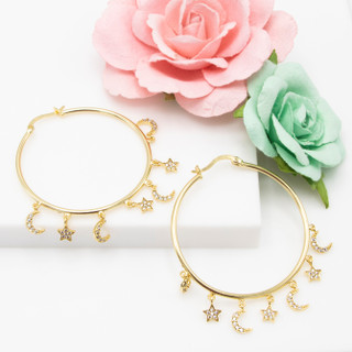 Moon and Star Hoops - 116542